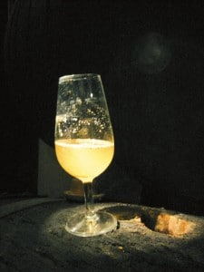 A glass of Fino with flor