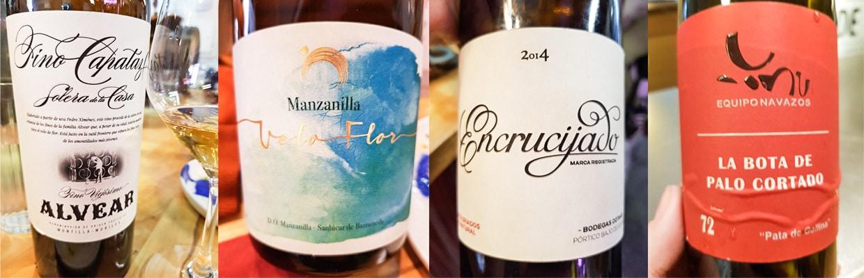 Fino Capataz (Alvear) - Manzanilla Velo Flor (Alonso) - Encrucijado 2014 (Cota 45) - La Bota de Palo Cortado 72 (Equipo Navazos)