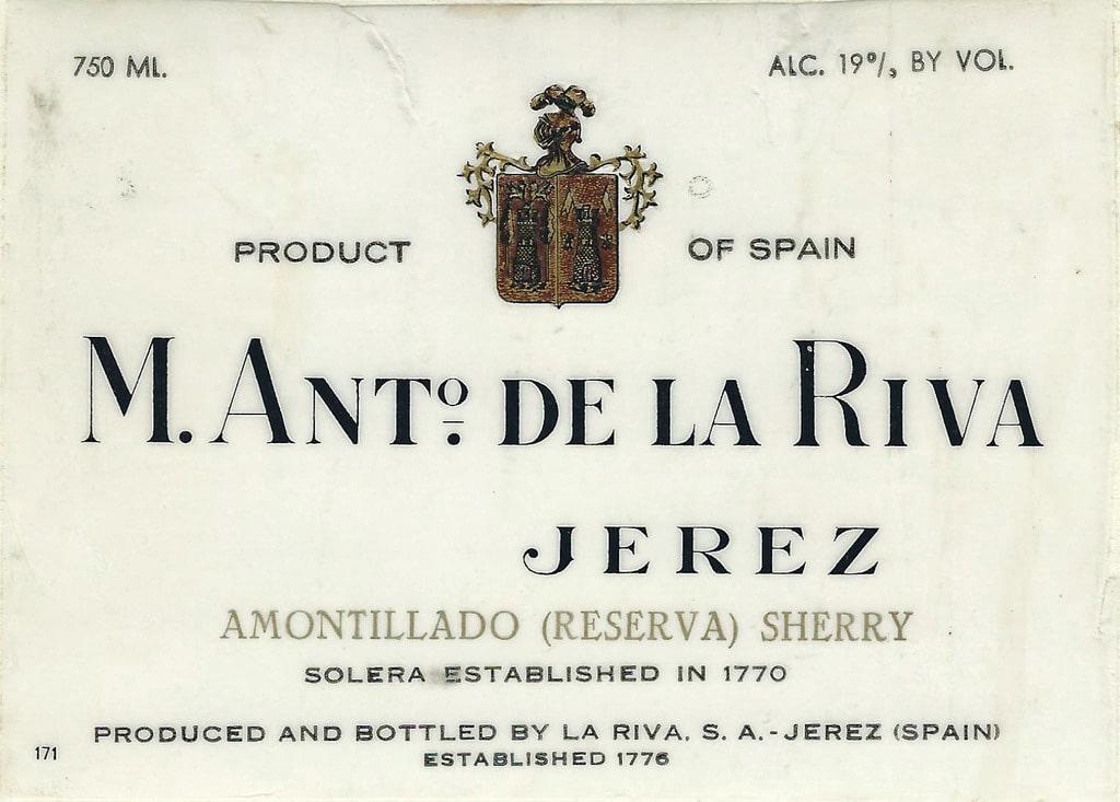 M. Ant. De La Riva Amontillado solera 1770