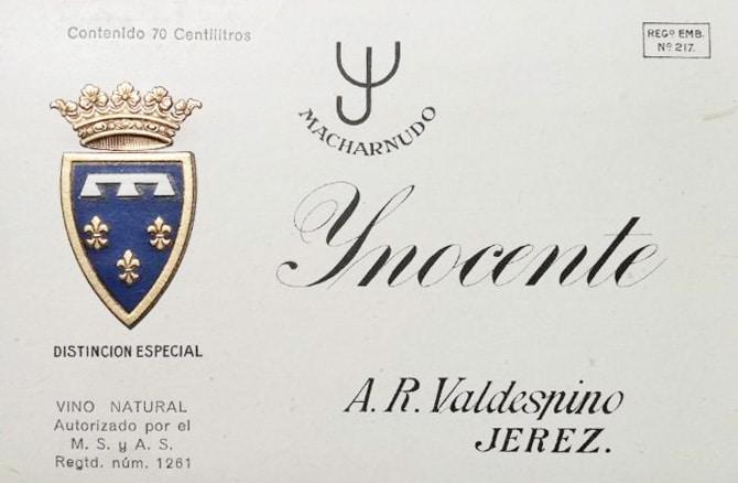 Valdespino Inocente - old label