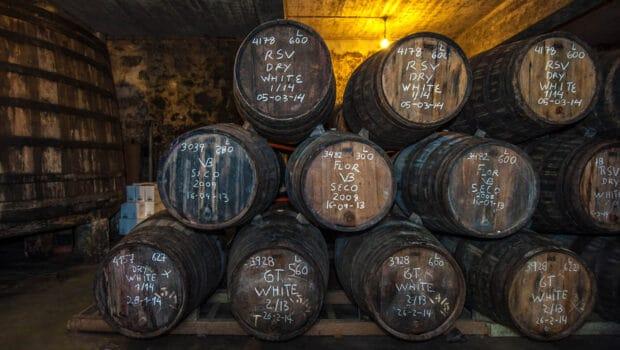 Sherry barrels in a bodega - Port barrels